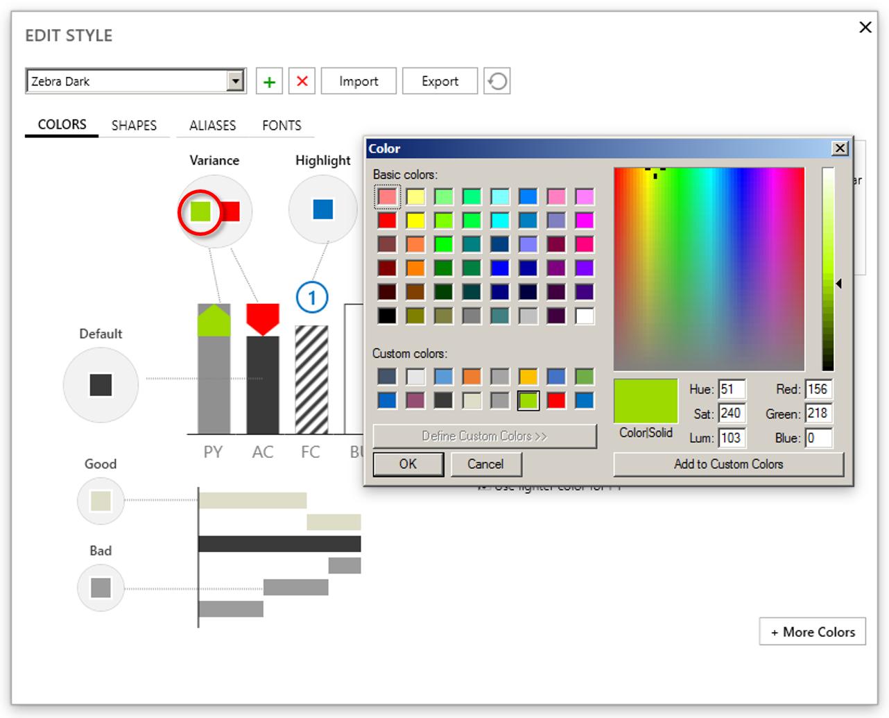 Edit Colors
