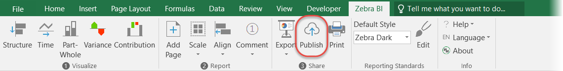 Zebra BI ribbon - Publish to SharePoint