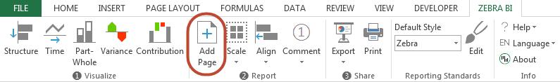 Add page in Zebra BI - Excel ribbon