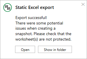 Export to static - export warning