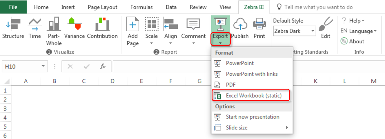 Export to static Excel workbook